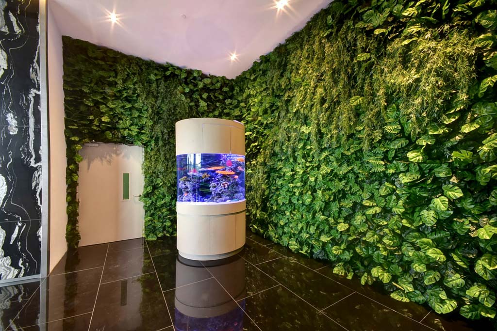 Building Lobby Feature Wall Using Artificial Plants