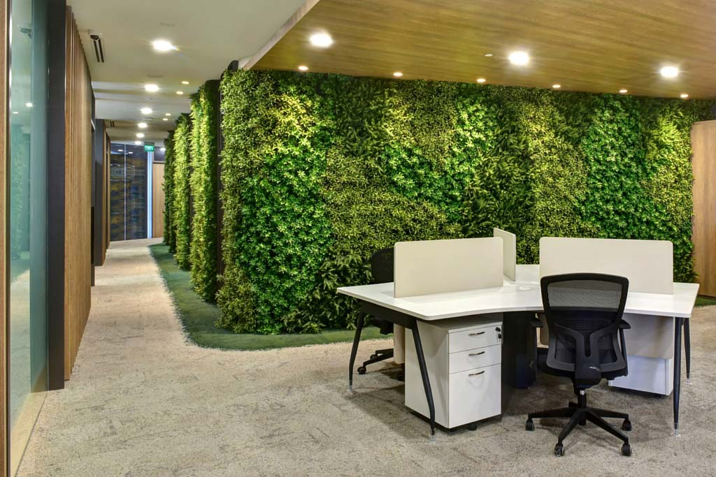 Greenturf artificial vertical gardens in office for Artificial plants for interior decoration