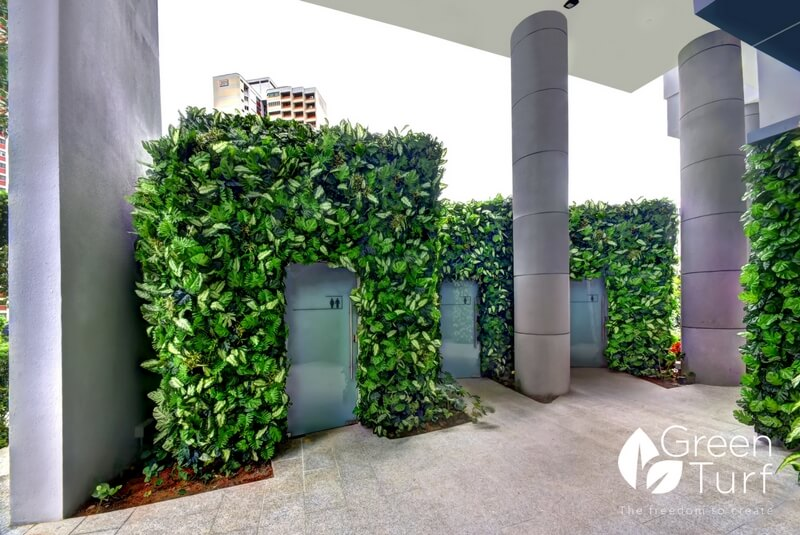 Insulating Outdoor Toilets with Artificial Green Walls