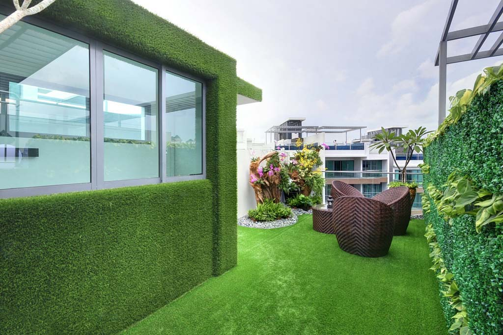 Rooftop House Clad With Artificial Grass Greenturf Asia