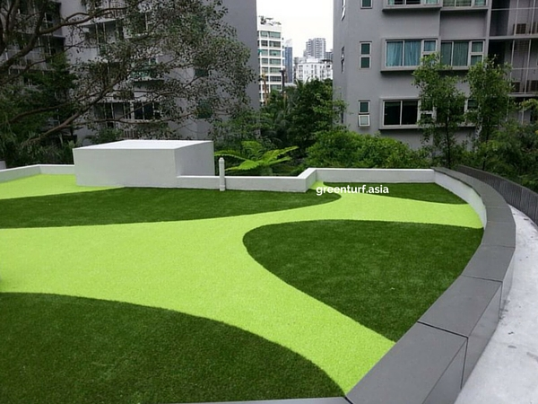 Carpark Rooftop with Lime Green Artificial Turf