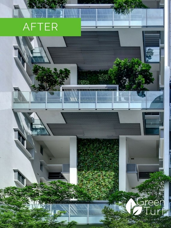 Building with lush artificial green wall