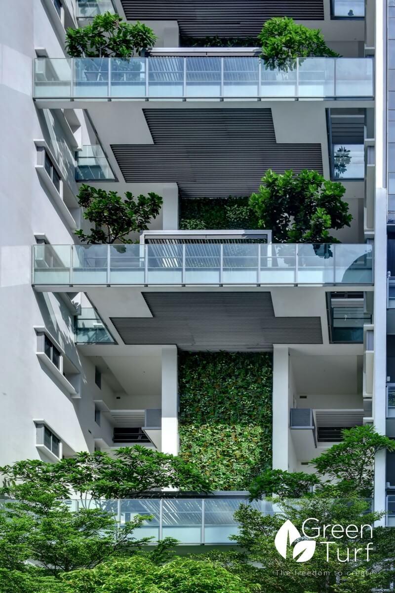 Condominium Facade with Artificial Green Wall