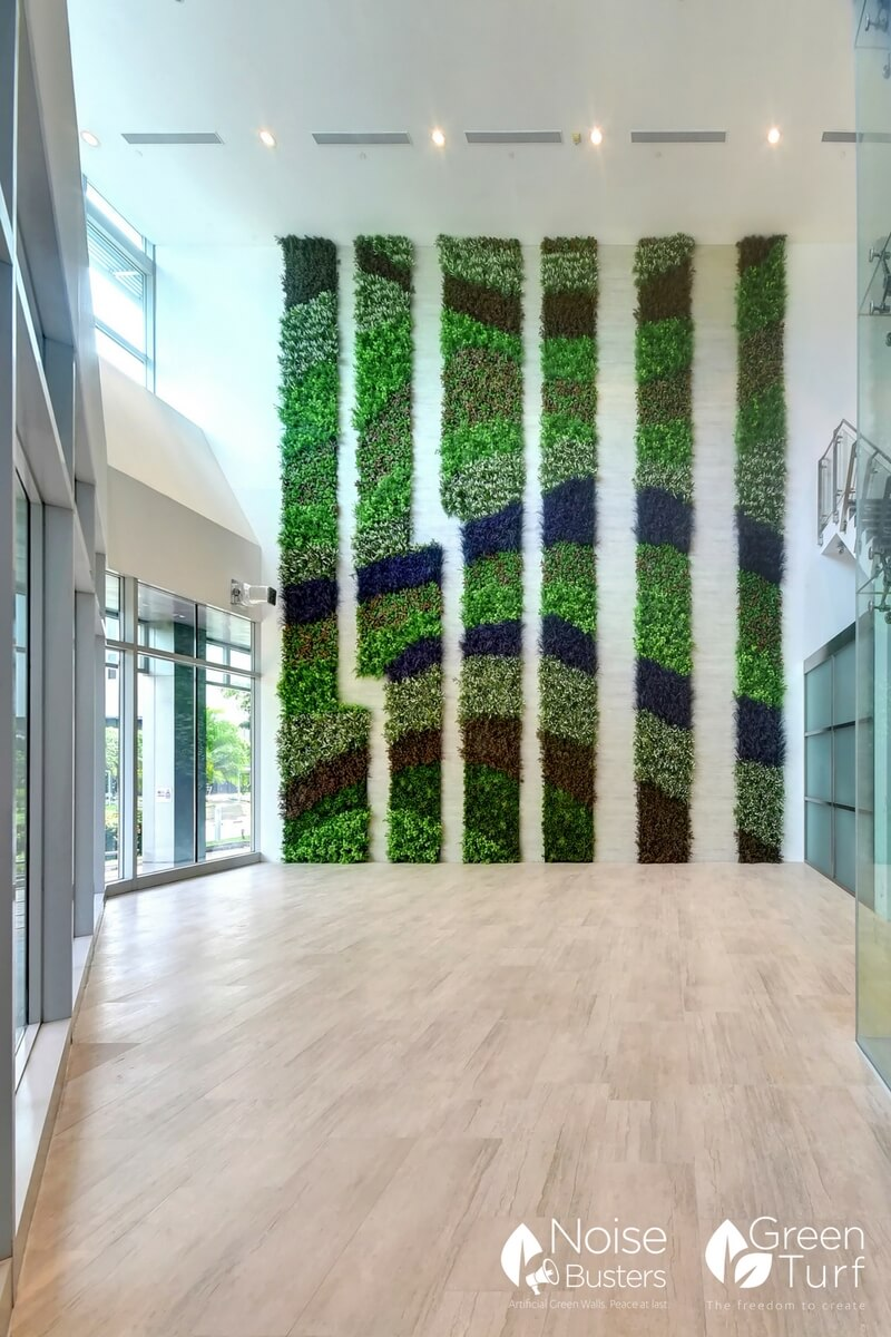 Artificial Green Wall In Building Lobby Greenturf Asia