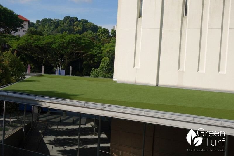Artificial turf installed on a sloping roof