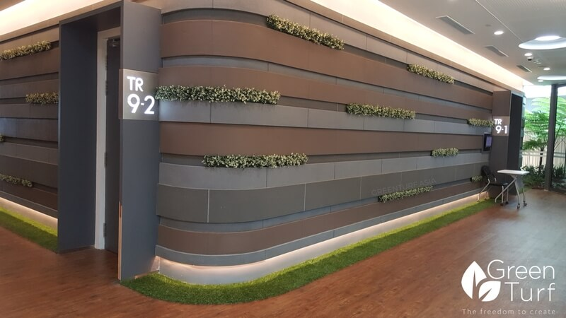 Fake foliage feature wall