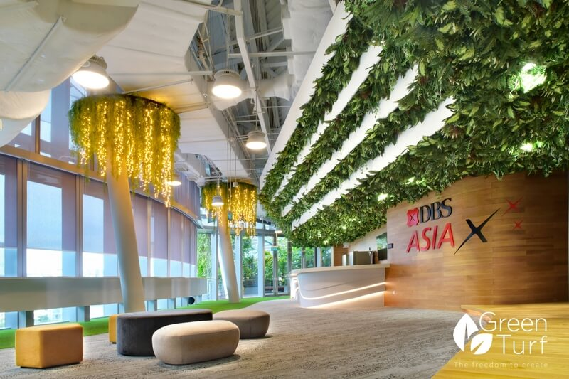 Grand and Calming Reception Area using Artificial Foliage