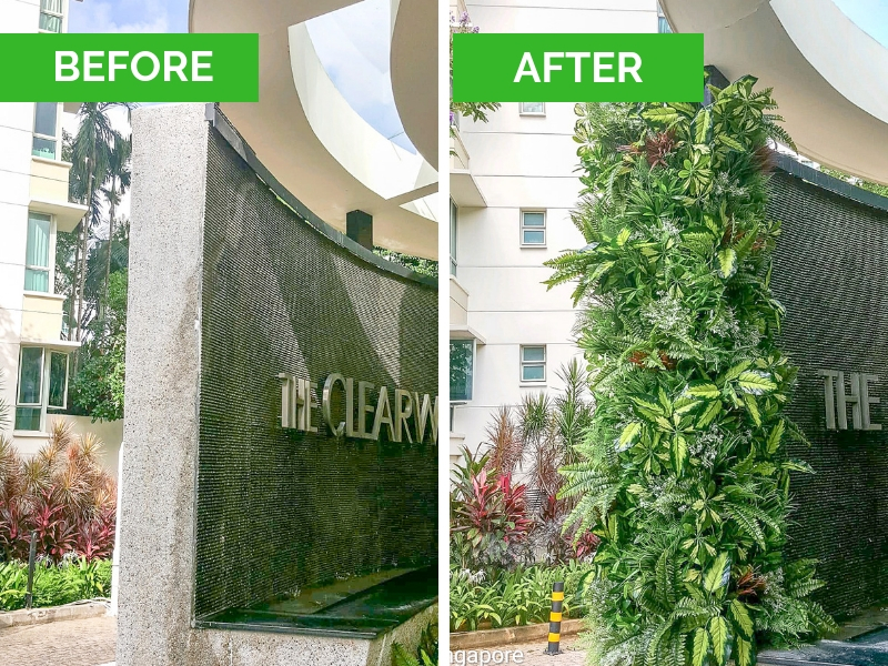Condominium Entrance Before and After Installing an Artificial Vertical Garden