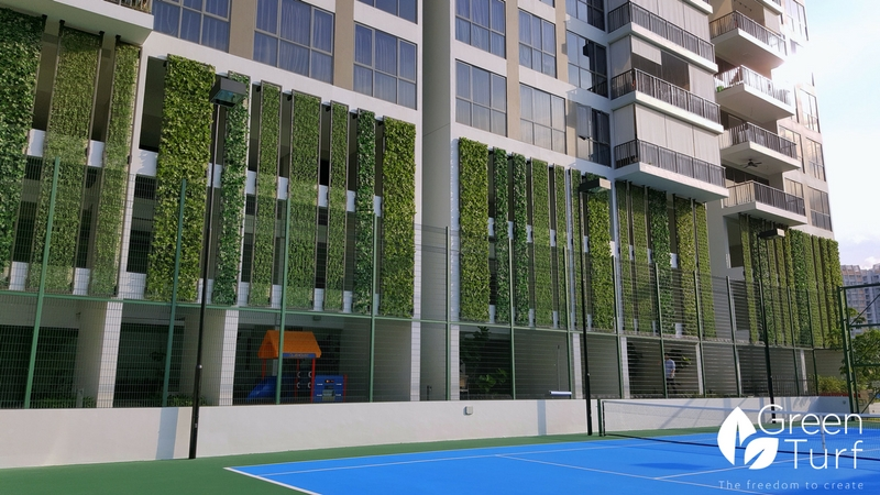 Artificial Vertical Green Panels used to Shield Car Park