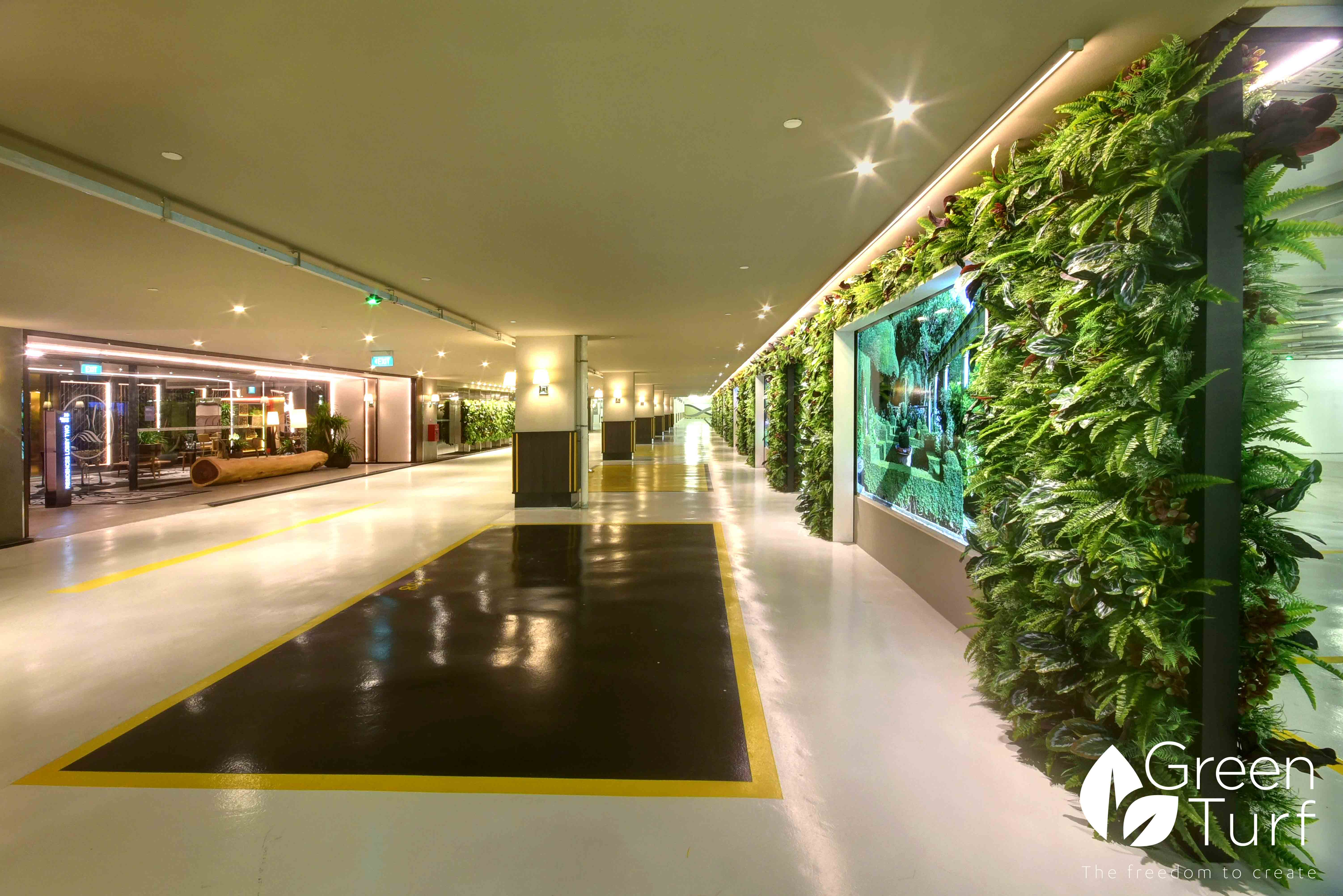 Versatile and Life-like Artificial Green Walls in Underground Car Park
