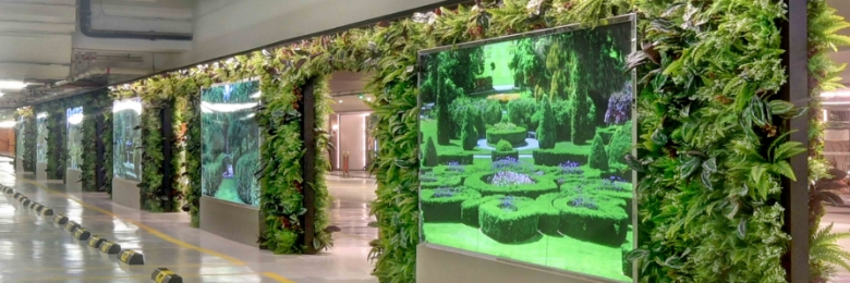 Artificial Vertical Garden in Underground Car Park